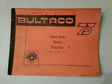 Bultaco  Spare Parts Dealer Price List dated May 1 of 1973 (with supplement)