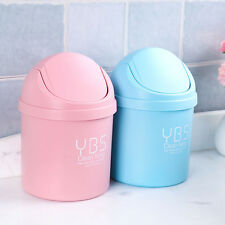 Mini Small Waste Bin Garbage Basket Table Home Desktop Trash Can Roll Swing Lid