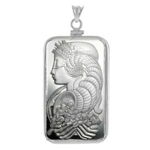 Sterling Silver Screw Top Plain Bezel and Pamp Suisse Fortuna 1 oz Silver Bar