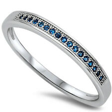Blue Sapphire Anniversary Stackable Band .925 Sterling Silver Ring Sizes 4-10