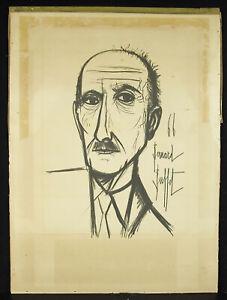 Bernard Buffet Gravur François Mauriac Unterzeichnet Ausstellung IN Platte 1966