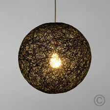 Modern 8 Inch Black Rattan  Wicker Ball Ceiling Pendant Light Shade Lampshade