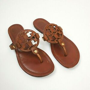 Tory Burch Women's Snake Print Miller Brown Leather Sandal Size 6.5 FREE SHIP