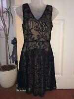 Warehouse Black & Nude Lace Pleated Dress Size 10 New Stunning Gatsby