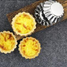 6Pcs Egg Tart Mold Stainless Steel Cupcake Baking Reusable Metal Muffin Cup Jian