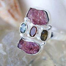 Silberring 62 Turmalin Rosa ROH Silber Ring Braun Rot Hellblau Elegant Schlicht
