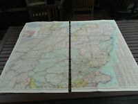 100% ORIGINAL LARGE NORTH EAST SCOTLAND FOLDING MAP LINEN BY BACON C1890/S
