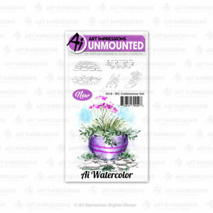 Watercolor Cobblestone Set Cling Rubber Stamp Set Art Impressions 5018 New