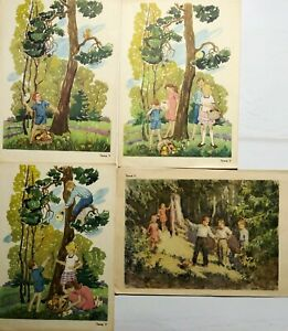 Russian Kids Illustration Children Forest Squirrel Posters Set 4 pcs 1950s