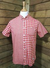 Penfield Casual CLASSIC FIT Short Sleeved Gingham Check Shirt Red/White Small