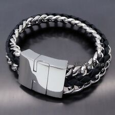 "MENS Genuine Black Leather Stainless Steel Chain Clasp Bracelet 8.5"" inches"