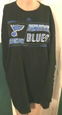 MEN'S NWT MAJESTIC NHL BLACK ST. LOUIS BLUES WESTERN CONFERENCE HOCKEY SHIRT XL