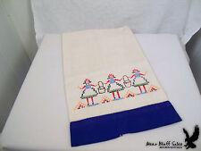 Ecru Linen Kitchen Hand Dish Guest Towel Bath Embroidery Maids Hem Stitch VTG.