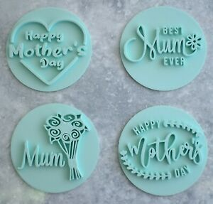 Mother's Day Embossers Set of 4 Stamp Cookie Fondant Mum Heart Flowers Best