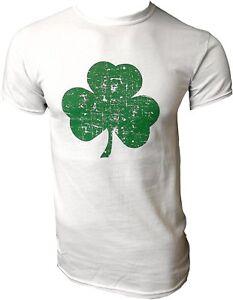 USA SCREEN PRINTED White Irish Distressed Shamrock T-shirt St Patricks Day...