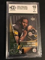 OMAR JACOBS ROOKIE CARD 2006 UPPER DECK PREMIERE#13 GRADED BECKETT BCCG 10 MINT