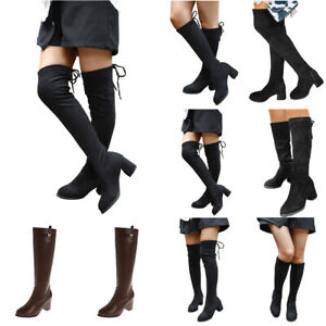 Womens Ladies Thigh High Boots Over The Knee Stretch Block Mid Heel Party Shoes