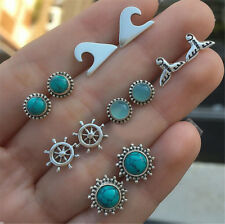 6 Pairs Women earring Turquoise Moon Anchor Ear Stud Earrings Jewelry Gift Set