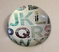 """Fringe Paperweight Circle Domed """"Alphabet"""" Gift Idea For Boss!"""