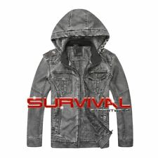 New Mens Detachable Hooded Faux Leather Outer Wear Lined Designer Jacket Top