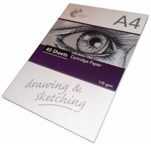 A4 Sketch Pad Headbound Cartridge White Drawing Paper 30 Sheet Book 135gsm