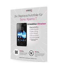 3x Displayschutzfolie Sony Xperia T LT30P Schutzfolie Displayschutz Clear Klar