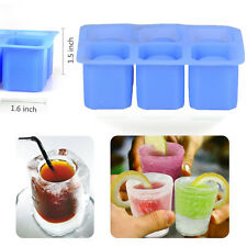 6-Cups Silicone Ice Cube Glass Shot Freeze Jello Molds Maker Cool Shooters Trays
