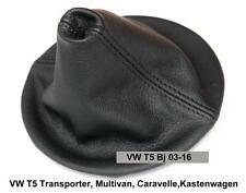 VW T5 Bj 03-15 Transporter Multivan Caravelle Schaltsack Echtes Leder Schwarz