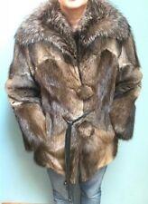 Eiler's 70's Vintage Muskrat fur coat, raccoon collar, 2 button