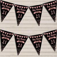 Any Age Party 18Th 21st 30th 40th 50th 60th Black & Rose Gold Bunting