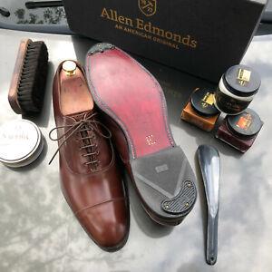 Allen Edmonds Park Avenue 10.5 C Burgundy Cap-Toe Oxfords Custom Upgrades+more