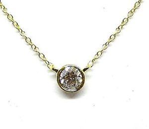"DIAMOND SOLITARIE NECKLACE BEZEL SET W/ 0.10CT DIAMOND 14K YELLOW GOLD 16"" CHAIN"
