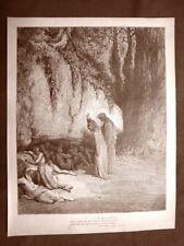 Incisione di Gustave Dorè del 1890 Dante e Belacqua Divina Commedia Purgatorio