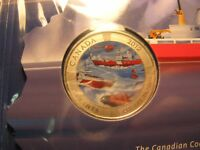 Canada 2012 50th Anniversary Canadian Coast Guard Coloured 25 Cent RCM Mint Set.