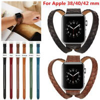 Leather Watch Strap Bracelet Wrist Band 38mm 40mm 42mm For Apple Watch 4 3 2 1