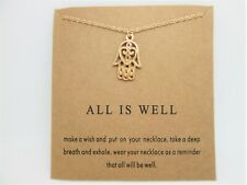 HAMSA HAND  GOOD LUCK CHARM NECKLACE   CHAIN CARD /SEALED + GIFT BAG