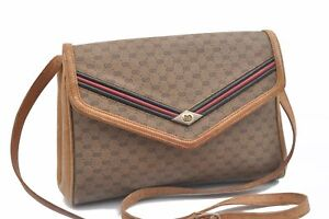 Authentic GUCCI Micro GG Web Sherry Line PVC Leather Shoulder Bag Brown C9341