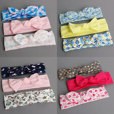 3Pcs/Set Kids Girls Toddler Baby Printing Bow Elastic Headband Hair Band