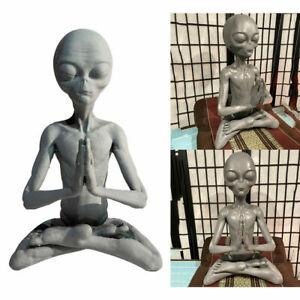 DIY Meditating Alien Resin Statue Art Sculpture Home Garden Ornament Gifts New