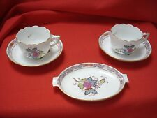 HEREND - CHINESE  BOUQUET (AF) 2 X MOCCA CUPS ND SAUCERS 711 -1X ASHTRAY
