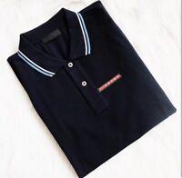 PRADA men polo shirt black white gray short sleeve navy blue New 100% authentic
