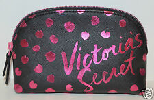VICTORIA'S SECRET BLACK PINK DOT SHINY MAKEUP COSMETIC CASE BAG CLUTCH ORGANIZER