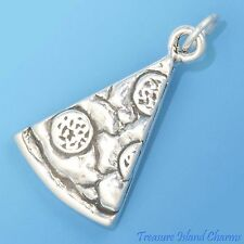 PEPPERONI PIZZA SLICE FOOD 3D .925 Solid Streling Silver Charm