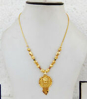 South Indian Jewelry Ethnic Gold Plated Necklace Chain Pendant 22k Light Mala p3