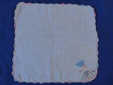 Charming Hand Crocheted Colonial Lady Vintage Linen Handkerchief