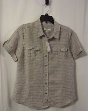Women's Christopher & Banks Shirt Short Sleeve Button Up Size M  NWT