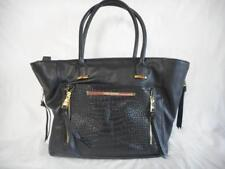 Large Steve Madden Woman's Black Leather Handbag Tote w/ reptile pattern pocket