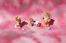 Vintage Enesco Porcelain Cherished Teddies Bear Figurines, Set of 3, Broken