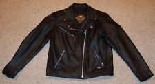 Harley Davidson Classic Plain Black Leather Jacket Coat, Large, L, Angled Zipper