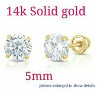 14k Yellow Gold Basket Created Diamond Round Brilliant Screw Back Stud 5MM